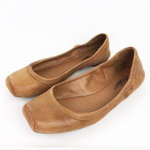 Lucky Brand Santana Tan Leather Flats size 9 brown
